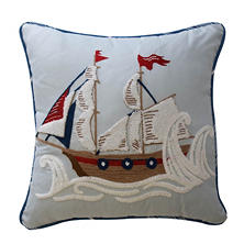 "Waverly Kids Ride the Waves Pirate Ship Decorative Accessory Pillow, 15"" x 15"""