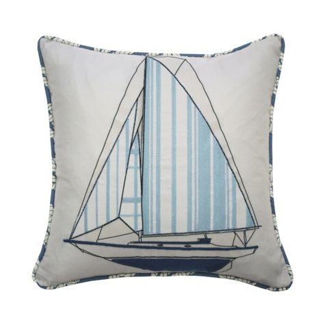 "Waverly Kids Set Sail Embroidered Decorative Accessory Pillow, 15"" x 15"""