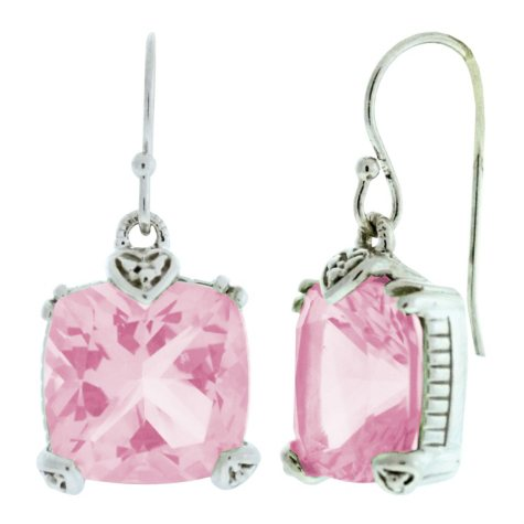 Judith Ripka Cushion-Cut Pink Crystal Earrings
