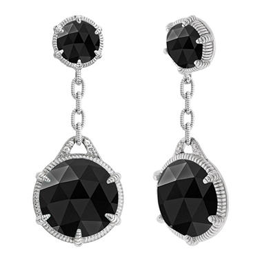 Judith Ripka Eclipse Double Drop Black Onyx Earrings
