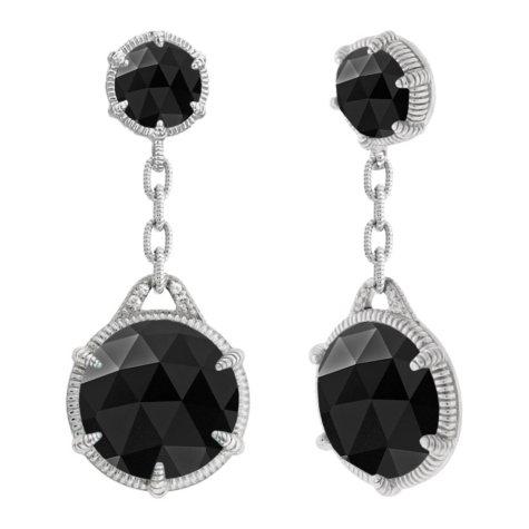 Judith Ripka Eclipse Double Drop Black Onyx Earrings