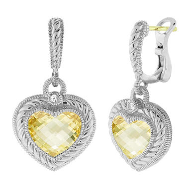 Judith Ripka Stone Heart Drop Earrings with Canary Crystal