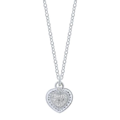 Judith Ripka Pave Heart Drop Necklace with White Sapphire