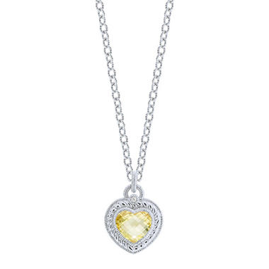 Judith Ripka Stone Heart Drop Necklace with Canary Crystal