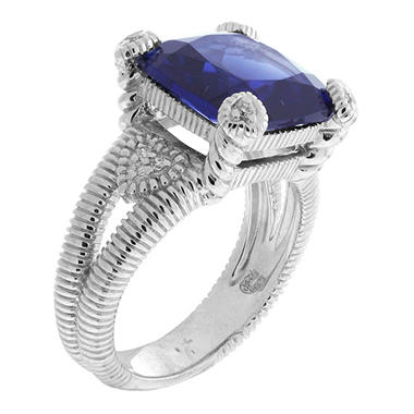 Judith Ripka Split Shank Lab-Created Blue Corundum Fontaine Ring in Sterling Silver