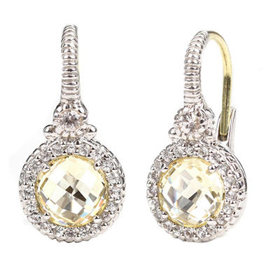 Judith Ripka Round Canary Crystal and Micropave White Sapphire Earrings in Sterling Silver