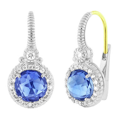Judith Ripka Round Lab-Created Blue Corundum Earrings with White Sapphire Micro Pave Frame in Sterling Silver