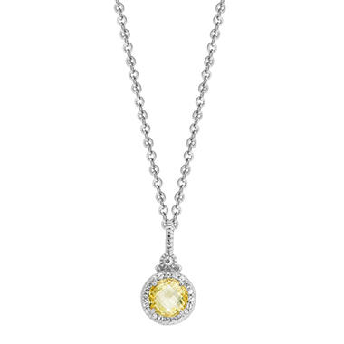 Judith Ripka Round Canary Crystal Necklace with White Sapphire Micro Pave Frame in Sterling Silver