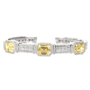 Judith Ripka's Three Stone Estate Canary Crystal Cuff in Sterling Silver