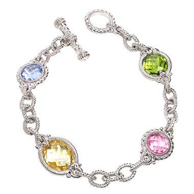Judith Ripka Multi Stone Link Bracelet In Sterling Silver