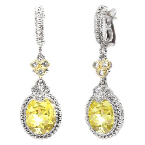 Judith Ripka's Estate Drop Oval Canary Crystal Earrings Set in Sterling Silver