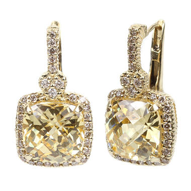 Judith Ripka Cushion Canary Crystal And Diamond Accent Earrings In 14k Yellow Gold