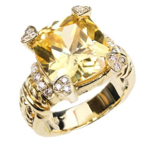 Judith Ripka Lola Ring with Cushion Canary Crystal and Diamonds in 14k Yellow Gold