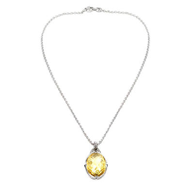 Judith Ripka Large Oval Canary Crystal Necklace in Sterling Silver