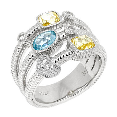Judith Ripka 3-Band Ring with Oval & Elongated Cushion Stone, Pave Heart & Round Bezels