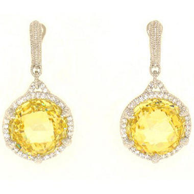 Judith Ripka Round Canary Crystal Earrings with Micro Pave White Sapphires in Sterling Silver