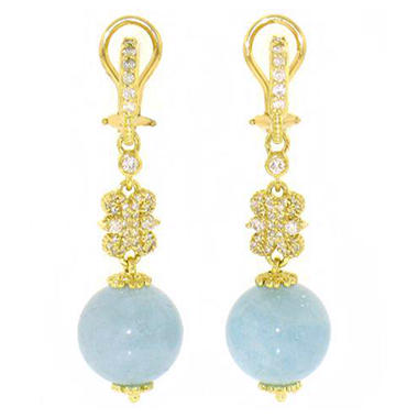Judith Ripka Aquamarine Bead Drop and Diamond Earrings in 18K Yellow Gold (G-H, SI1)