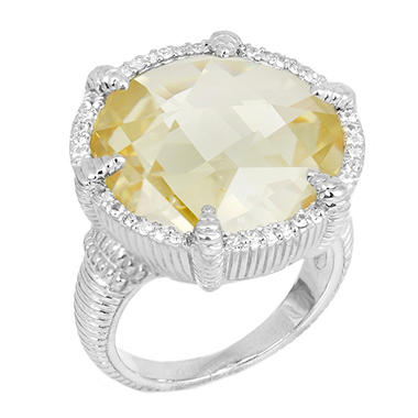 Judith Ripka Round Canary Crystal Eclipse Ring With Micro Pave White Sapphires in Sterling Silver