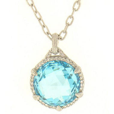 Judith Ripka Round Sky Blue Crystal Pendant with Micro Pave White Sapphires in Sterling Silver
