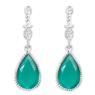 Judith Ripka Small Marina Earring With Stone Green Chalcedony and White Sapphire