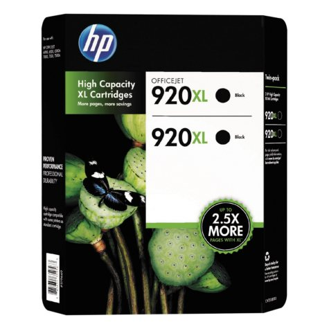 HP 920XL High Yield Original Ink Cartridge, Black, 2 Pack, 1200 Page Yield
