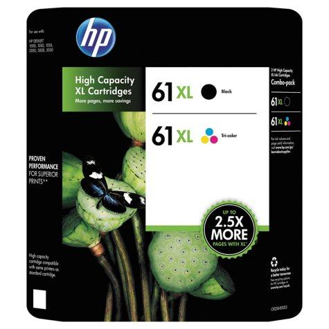 HP 61XL High Yield Original Ink Cartridge, Black/Tri-Color (2 pk., 480 Page Yield)