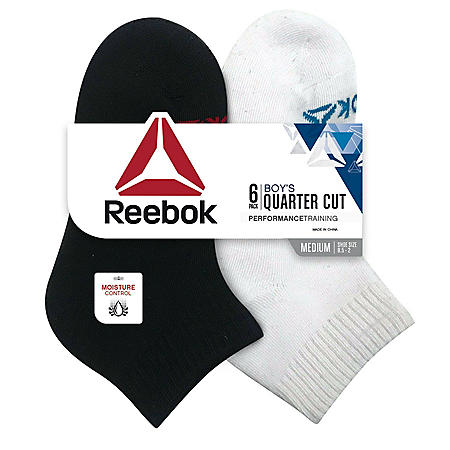 Reebok 6 Pack Boys Cushion Quarter Cut Socks