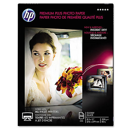 HP Premium Plus Photo Paper, 80 lbs, Glossy, 8 1/2 x 11, 50 Sheets
