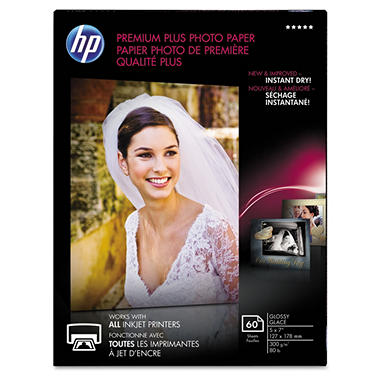 HP Premium Plus Photo Paper, 80 lbs, Glossy, 5 x 7, 60 Sheets