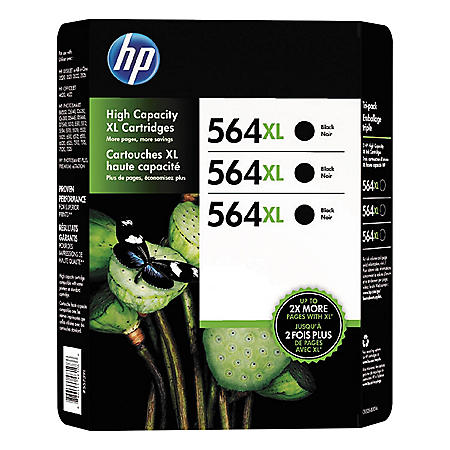 HP 564XL High Yield Original Ink Cartridge, Black, 3 Pack, 550 Page Yield