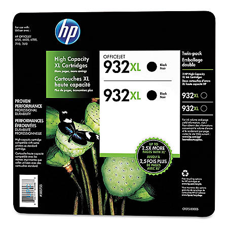 HP 932XL High Yield Original Ink Cartridge, Black, 2 Pack, 1,000 Page Yield
