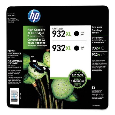 HP 932XL High Yield Original Ink Cartridge, Black, 2 Pack, 1000 Page Yield
