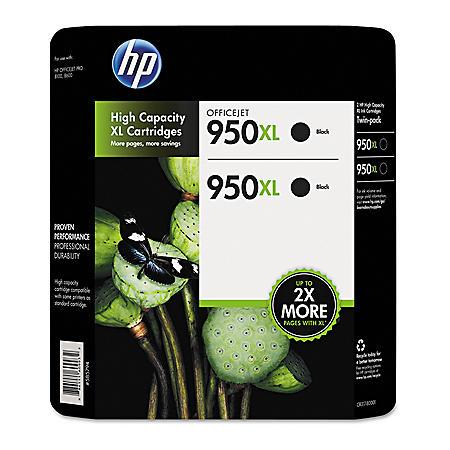 HP 950XL High Yield Original Ink Cartridge, Black (2 pk., 2,300 Page Yield)