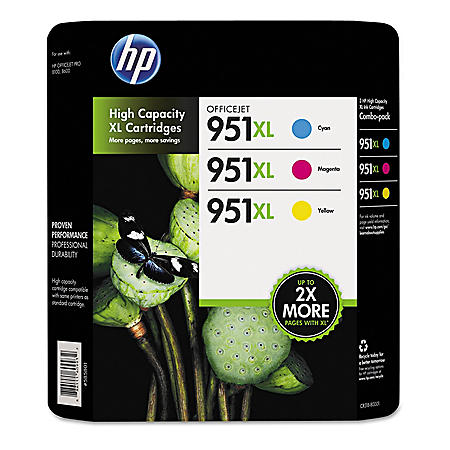 HP 951XL High Yield Original Ink Cartridge, Cyan/Magenta/Yellow, 3 Pack, 1500 Page Yield