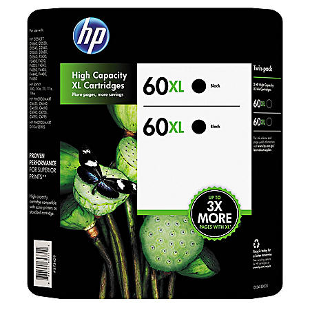 HP 60XL High Yield Original Ink Cartridges, Black, 2 Pack