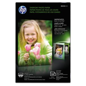 """HP Everyday Glossy Photo Paper, 53 lb., 4"""" x 6"""", 100 Sheets/Pack"""