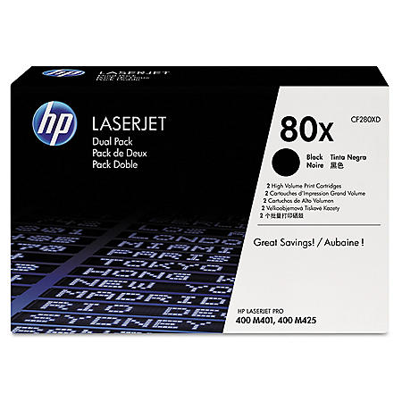 HP 80X Original Laser Jet Black Toner Cartridge, (6,900 Yield) - 2 Pack