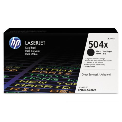 HP 504X High Yield Original LaserJet Toner Cartridge, Black (2 pk., 10500 Page Yield)