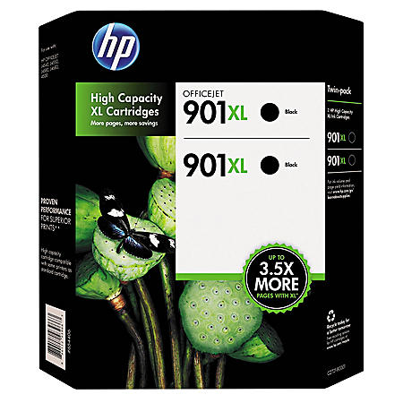 HP 901XL High Yield Original Ink Cartridges, Black, 2 Pack, 700 Page Yield