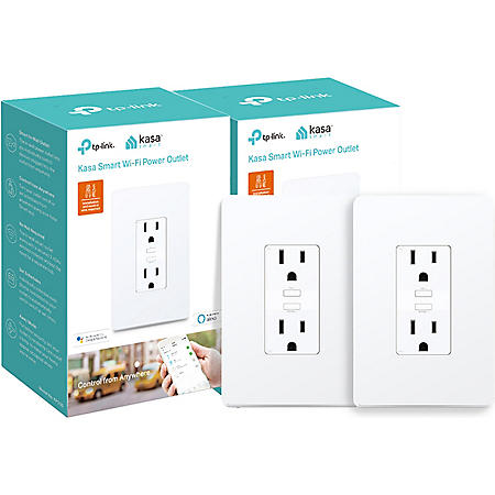 TP-Link KP200 Kasa Smart Wi-Fi In-Wall Power Outlet (2 pack)
