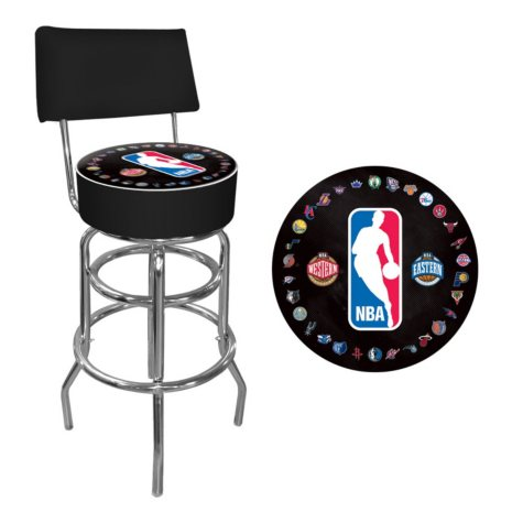 NBA Logo with All Teams Padded Swivel Bar Stool with Back