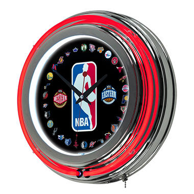 NBA Logo 30 Team Chrome Double Ring Neon Clock