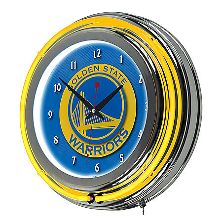 Golden State Warriors NBA Chrome Double Ring Neon Clock