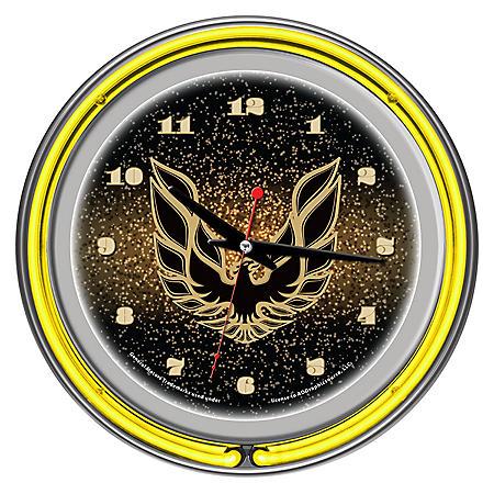 Pontiac Firebird Chrome Double Ring Neon Clock (Assorted Colors)