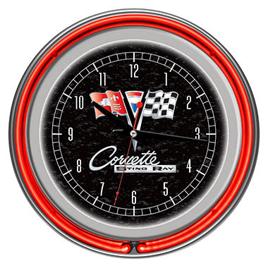 Corvette C2 Chrome Double Ring Neon Clock (Assorted Colors)