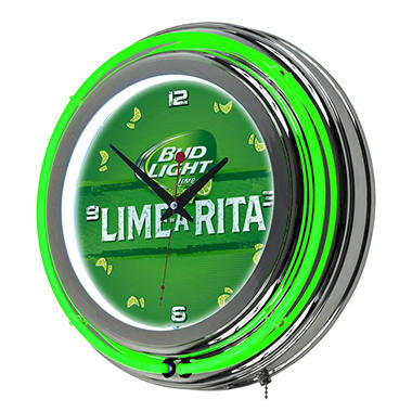 Bud Light Chrome Double Ring Neon Clock (Assorted Styles)