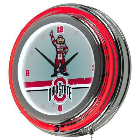 Ohio State Stripe Neon Wall-Mounted Clock