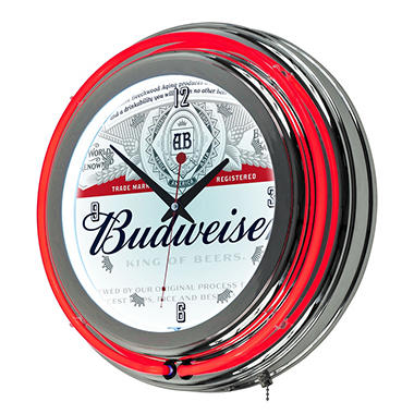 Budweiser Neon Wall Clock (Assorted Styles)