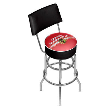 NHL Swivel Bar Stool with Back, Chicago Blackhawks