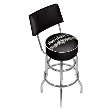 NHL Swivel Bar Stool with Back, Pittsburgh Penguins